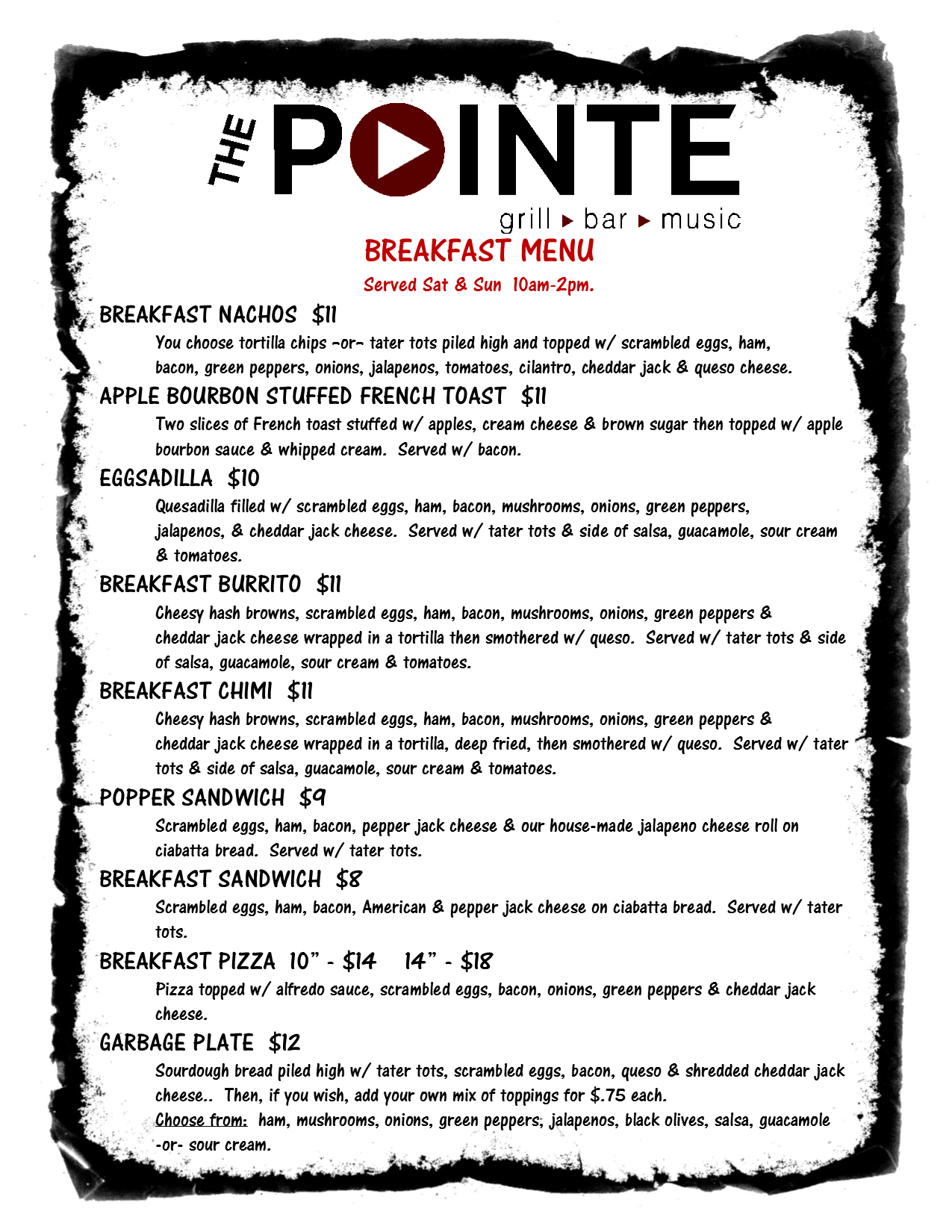 breakfast menu 5-15